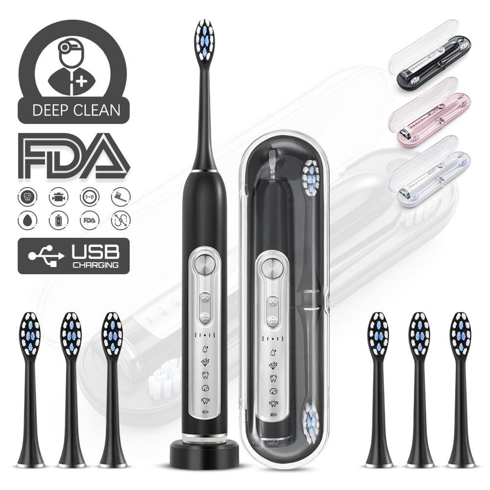 Premium Electric Toothbrush & Sonic Toothbrushes, MUTTUS, 5 Modes 15 Brushing Experience, 6 Brushheads, Travel Case Enable