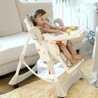 Baby Chair Feeding Folding Chair and Table Plastic High Chair for Babies Portable Adjustable Height Wheeled Baby Dinner Chair