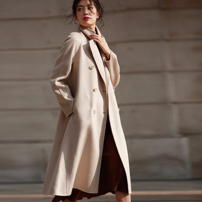 Wool Coat Women Vintage Winter Coat Women Double Sided Long Jacket Oversize Windbreaker Abrigos Mujer Invierno 2020 8503 YY693