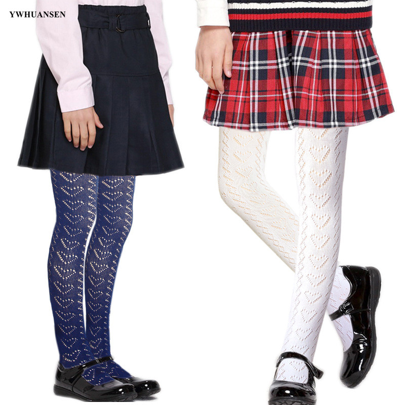 YWHUANSEN Children's Cotton Pantyhose Knitting Mesh Breathable Spring Summer Dance Performance School Uniform Tights For Girls