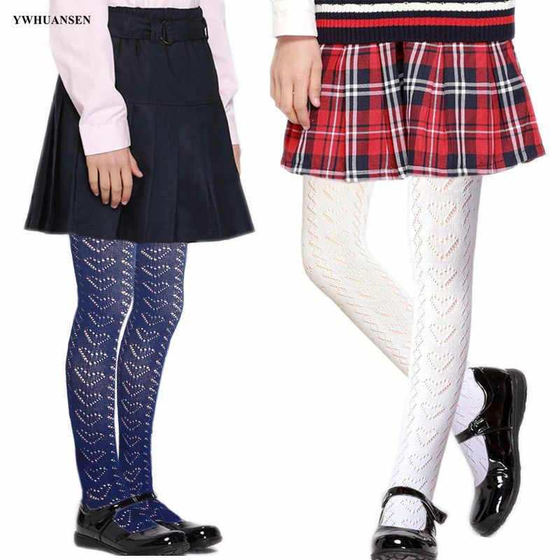Ywhuansen calças de algodão das crianças tricô malha respirável primavera verão dança desempenho escola uniforme collants para meninas