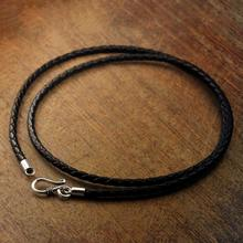 Pure Silver 925 Sterling Silver Clasp Leather Long Necklace With Silver Hook For Men Male Women 50cm 60cm Jewelry accessory(HY)