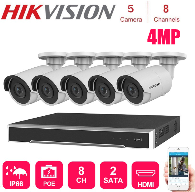 Hikvision 4K network 8Channels POE NVR with 5 sets 4MP IP Camera Network Security Night Vision Video Surveillance System Kits image