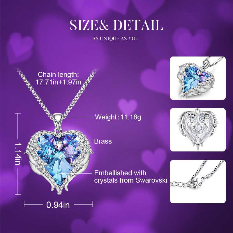 Cde moda asas de anjo coração forma pingente colar com ametista cristal para as mulheres jóias finas presentes do dia dos namorados