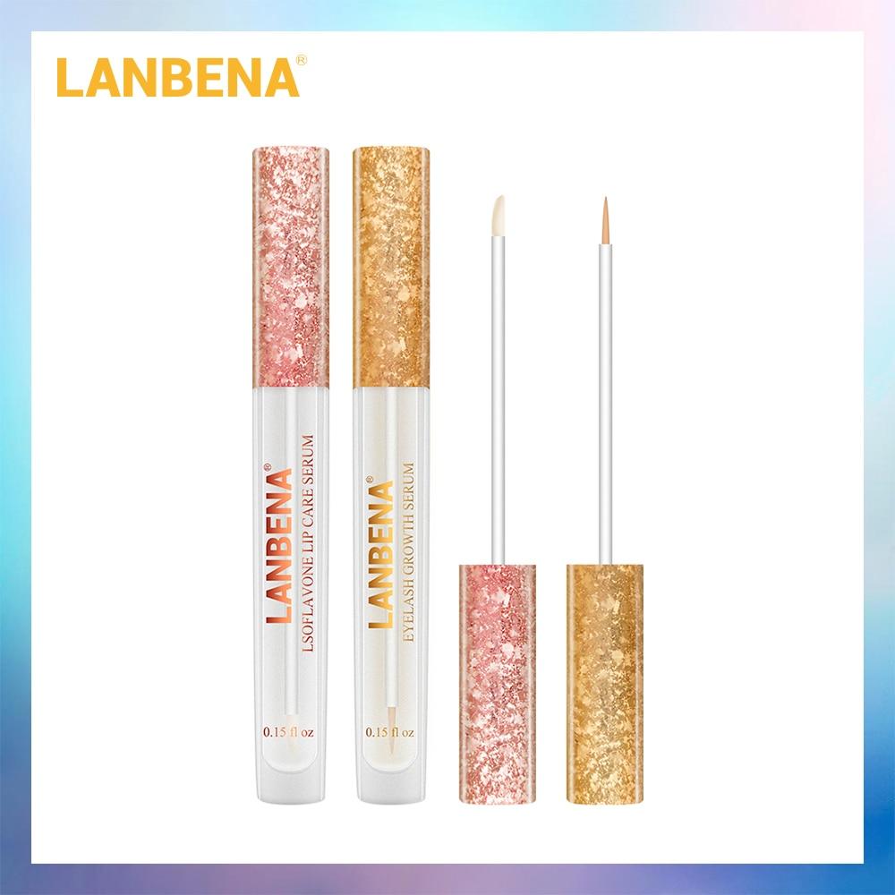 LANBENA Lsoflavone Lip Care Serum Lip Plumper Lip Mask+ Eyelash Growth Eye Serum 7 Day Eyelash Enhancer Longer Fuller 2PCS