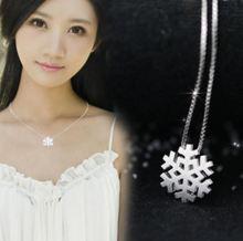 S925 Silver Necklace Brushed Snowflake Pendant Korean Fashion Snowflake Pendant Women's Clavicle Chain Necklace snowflake