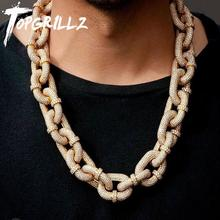 TOPGRILLZ Chain Necklace Jewelry Carabiner-Clip Miami Cuban Iced-Out with Micro-Pave