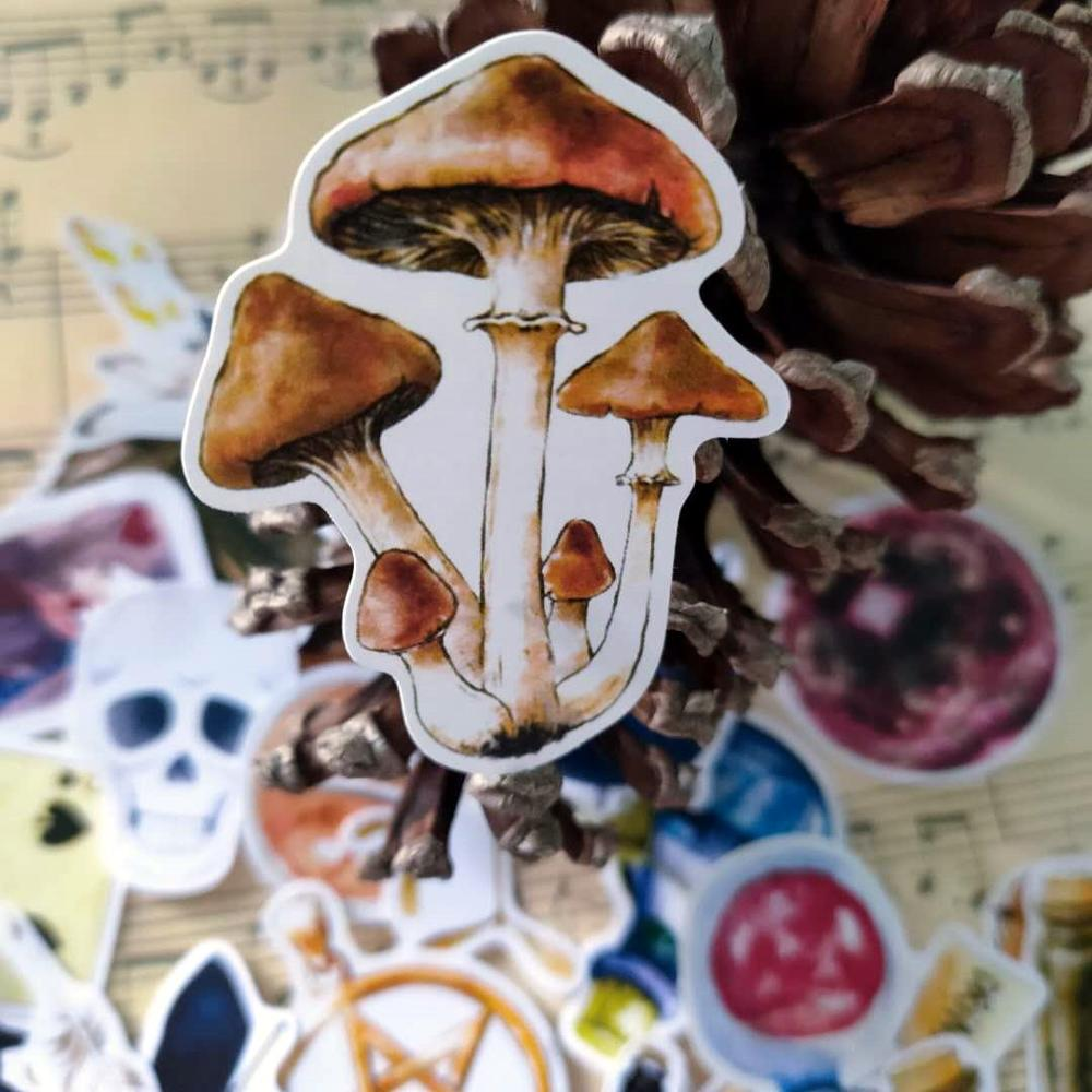 38 PCS Retro Magic Potion Vintage Poker Mushroom Witch Skull Sticker For The Diary Scrapbooking Ablum Label Stickers Stationery