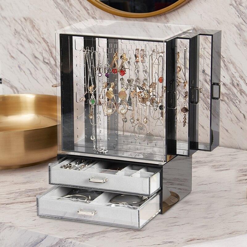 Acrylic Cosmetic Storage Box Transparent Drawer Dresser Rack Desktop European Jewelry Box