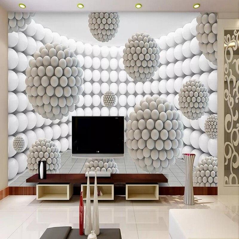 Custom Large Mural 3D Wallpaper Modern Creative 3D Expansion Space White Gray Sphere TV Back Wall Decor Deep 5D Embossed