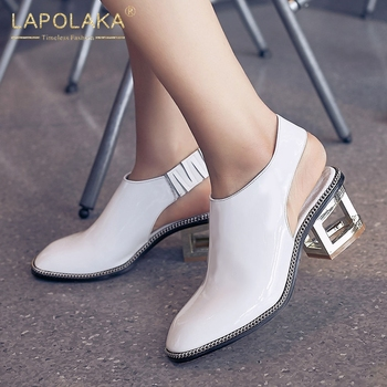 Lapolaka 2020 New Fashion Genuine Cow Leather Strange Style Shoes Woman Sandals  Elastic Band Solid Summer Sandals Women Shoes