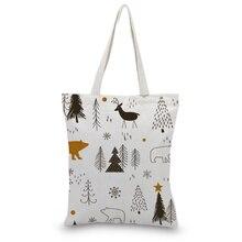 Women Hand Bag Reusable Shopping Bag Eco Daily Use Shoulder Bag Print Casual Canvas Tote Bag casual women s tote bag with leopard print and canvas design