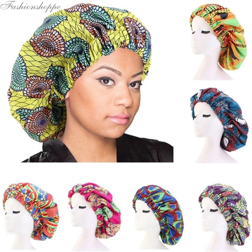 African Print Bonnet Women Large Night Sleep Cap Headwear Headwrap Hair Care Hat