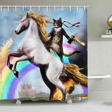 Unicorn Shower Curtain Cat HeroWith A Gun Bath Curtains Bathroom For Bathtub Bathing Cover Extra Large Wide 12pcs Hooks