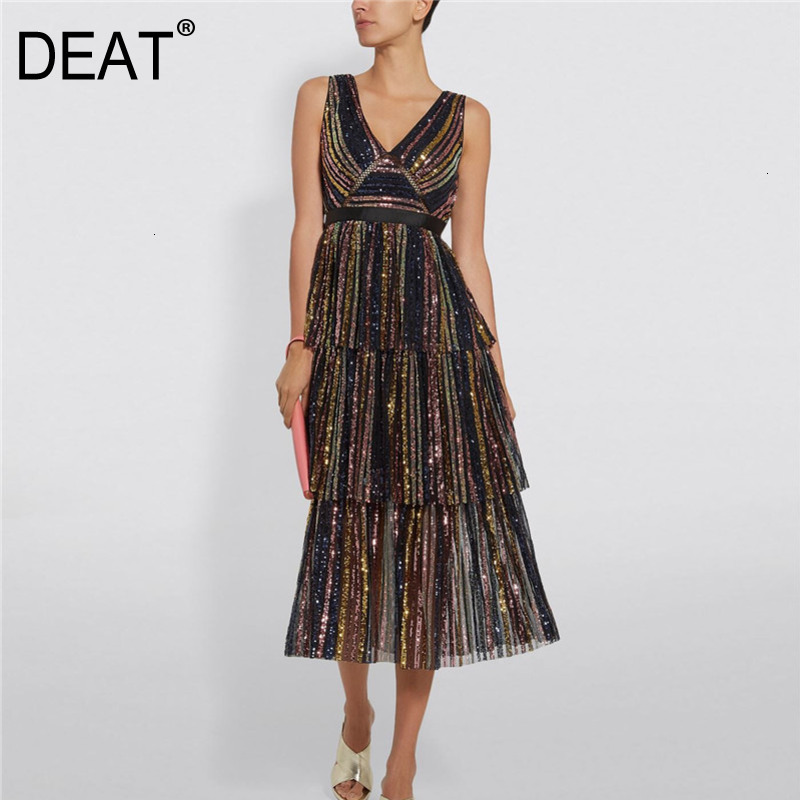 DEAT 2019 Autumn And Winter New Products Fashion V-neck Sleeveless Colorful Sequins Striped Dress Female PB322