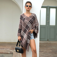 2019 Autumn Winter Capes Fringed Cape Pullovers Diagonal Striped Sweater V-neck Lady Knitted Cape Poncho plus size fringed zigzag poncho sweater