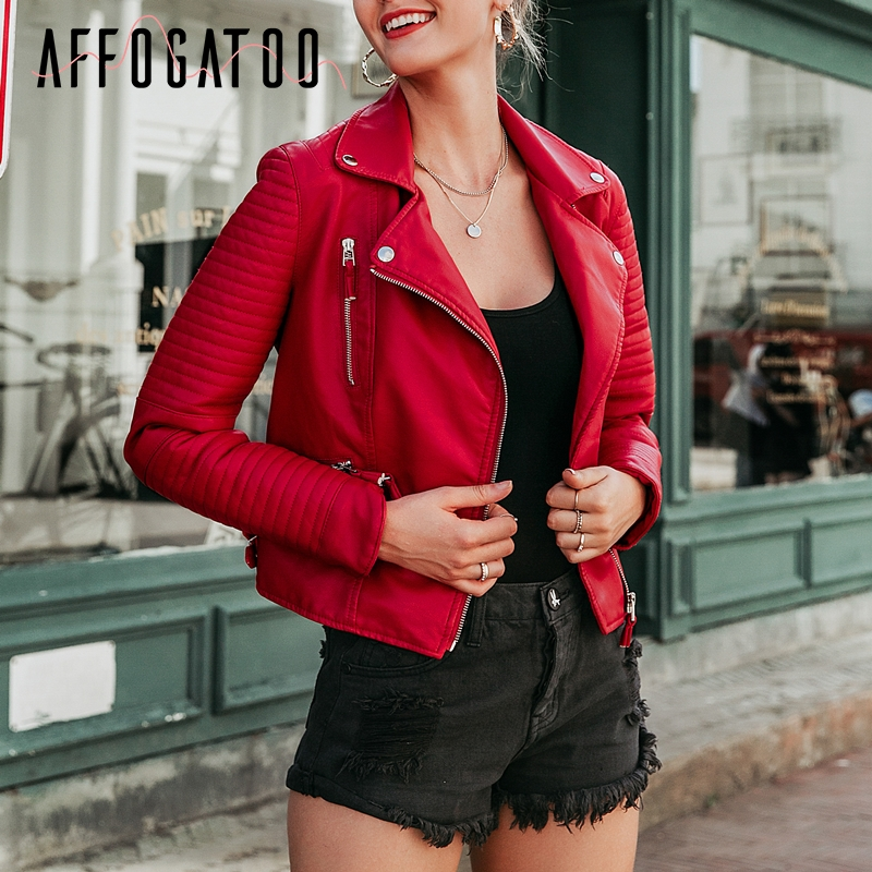 <font><b>Affogatoo</b></font> <font><b>Sexy</b></font> faux <font><b>leather</b></font> red jacket women Autumn winter <font><b>pu</b></font> motorcycle jacket female Vintage Trendy <font><b>zipper</b></font> outwear black coat image