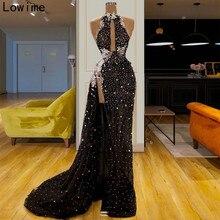 新しいファッションイリュージョンカクテルドレスロングノースリーブホルター真珠ウェディングドレスセクシーな女性パーティードレスイブニングドレス暴走 vestidos