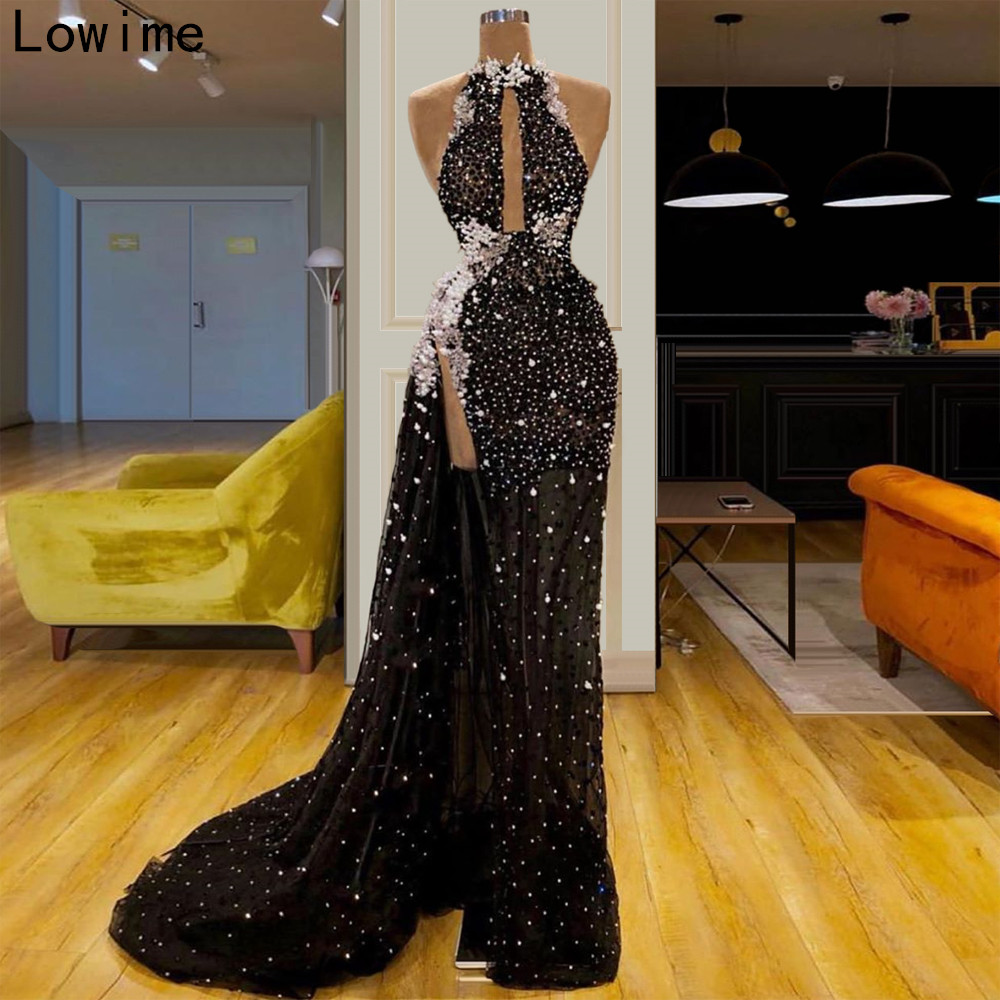 New Fashion Illusion Cocktail Dress Long Sleeveless Halter Pearls Prom Dress Sexy Women Party Gowns Evening Runaway vestidos