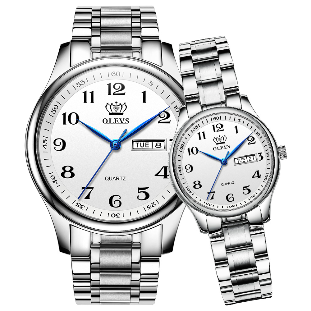 OLEVS Couples Watches Waterproof Stainless Steel Band His and Her Easy Reader Quartz WristWatch Gifts Set for Lovers One Pair