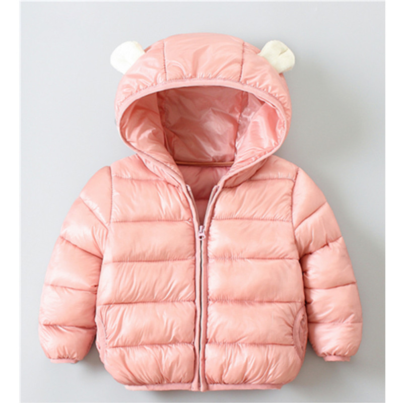 2020 Kids Children Baby Boys Girls Fresh Solid Color Cute Jacket Autumn Winter Thickened Windproof Hooded Ear Warm Coat Jackets