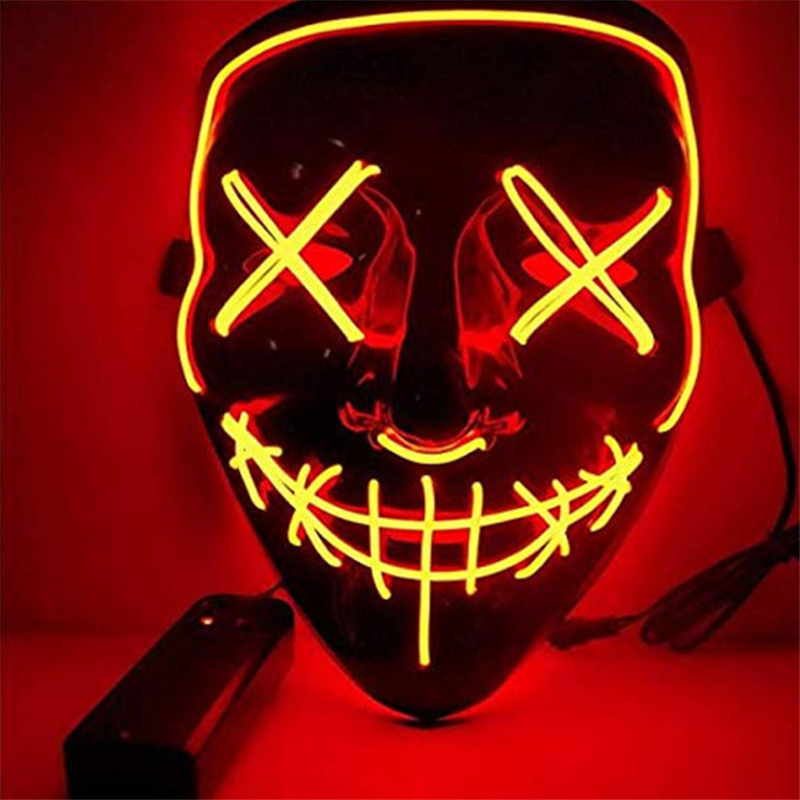 Halloween Night Light EL Glow Mask Ghost Head LED Black Light Mask Lamp Dance Party Horror Mask Decoration Christmas Festival