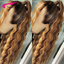 Brazilian Deep Wave 13X6 Lace Front Human Hair Wigs 180% PrePlucked Glueless Lace Frontal Wigs With Highlight Color Remy Hair