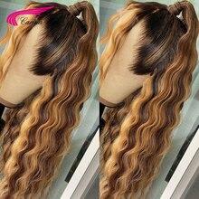 Pelucas de cabello humano brasileño Deep Wave 13x6, encaje Frontal prearrancado, sin pegamento, Color resaltado, Remy