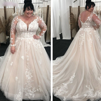 Plus Size V-Neck Wedding Dresses Sheer Full Sleeves Lace Appliques A Line Tulle Long Dress Bridal Gowns Formal robe de mariee sodigne tulle wedding dresses a line lace appliques bridal gowns sexy v neck sleeveless backless wedding gown robe de mariee