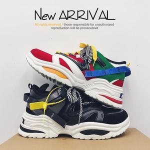 Image 4 - 2020 yeni yastık sönümleme erkekler rahat vulkanize ayakkabı ağ dokuma erkek Flats ayakkabı beyaz baba Sneakers siyah açık yürüyüş erkekler