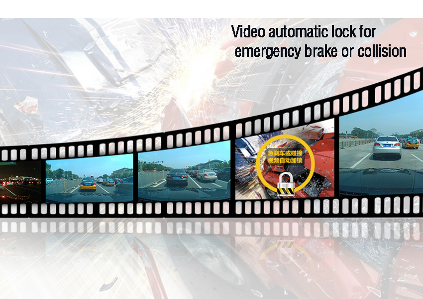 Video automatic lock for emergency brake or collision