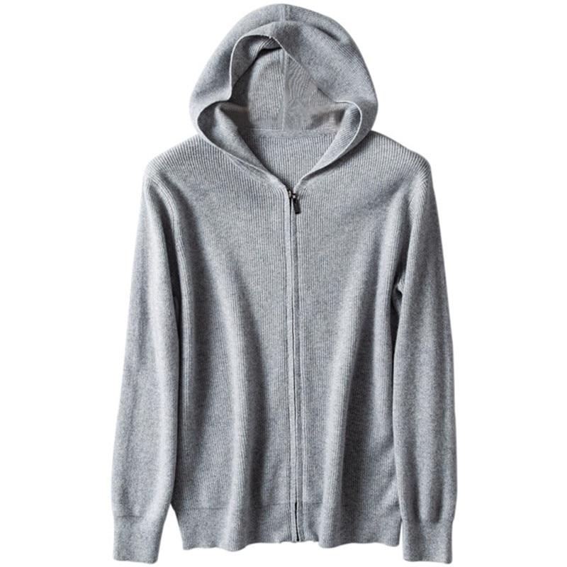 Pure Goat Cashmere Knit Men Smart Casual Zipper Hooded Cardigan Sweater Sweatshirts Coat M-3XL