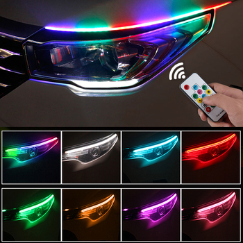 2Pcs Universal Flexible Flowing RGB Daytime Running Light DRL Multi Color LED Strip Turn Signal Lights For Headlight free shipping iphcar waterproof dual color special outside led daytime running lights for 2013 cr v