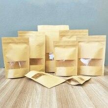 Мешок для конфет, пищевая упаковка, карманный мешок для орехов, 50 шт., крафт-бумага, прочная, прочная, прозрачная посылка, самозапечатанные, скраб