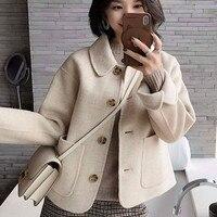 Woman short Solid Woolen Coat Fashion Autumn Jacket
