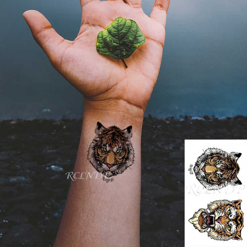 Tatuagem temporária à prova dwaterproof água adesivo tigre rei cabeça grande cor animal falso tatto flash tatoo pequeno corpo arte para crianças