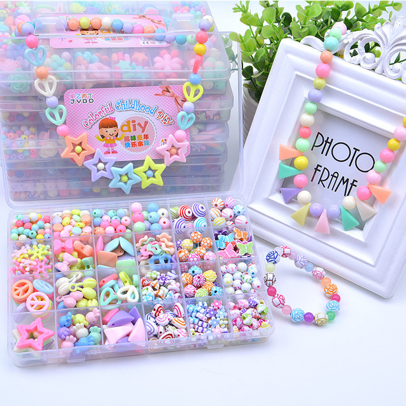 500-580Pcs With Box & Tool  Diy Educational Toy Gifts For Girls Hands-on Ability Child Beads Toys