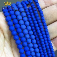 Perles rondes en pierre naturelle, en hématite, bleu foncé mat, pour la fabrication de bijoux, accessoires 15 ''4 6 8mm, Bracelet à bricoler soi-même