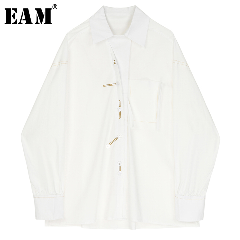 [EAM] Women White Embroidery Split Big Size Blouse New Lapel Long Sleeve Loose Fit Shirt Fashion Tide Spring Autumn 2020 1R376