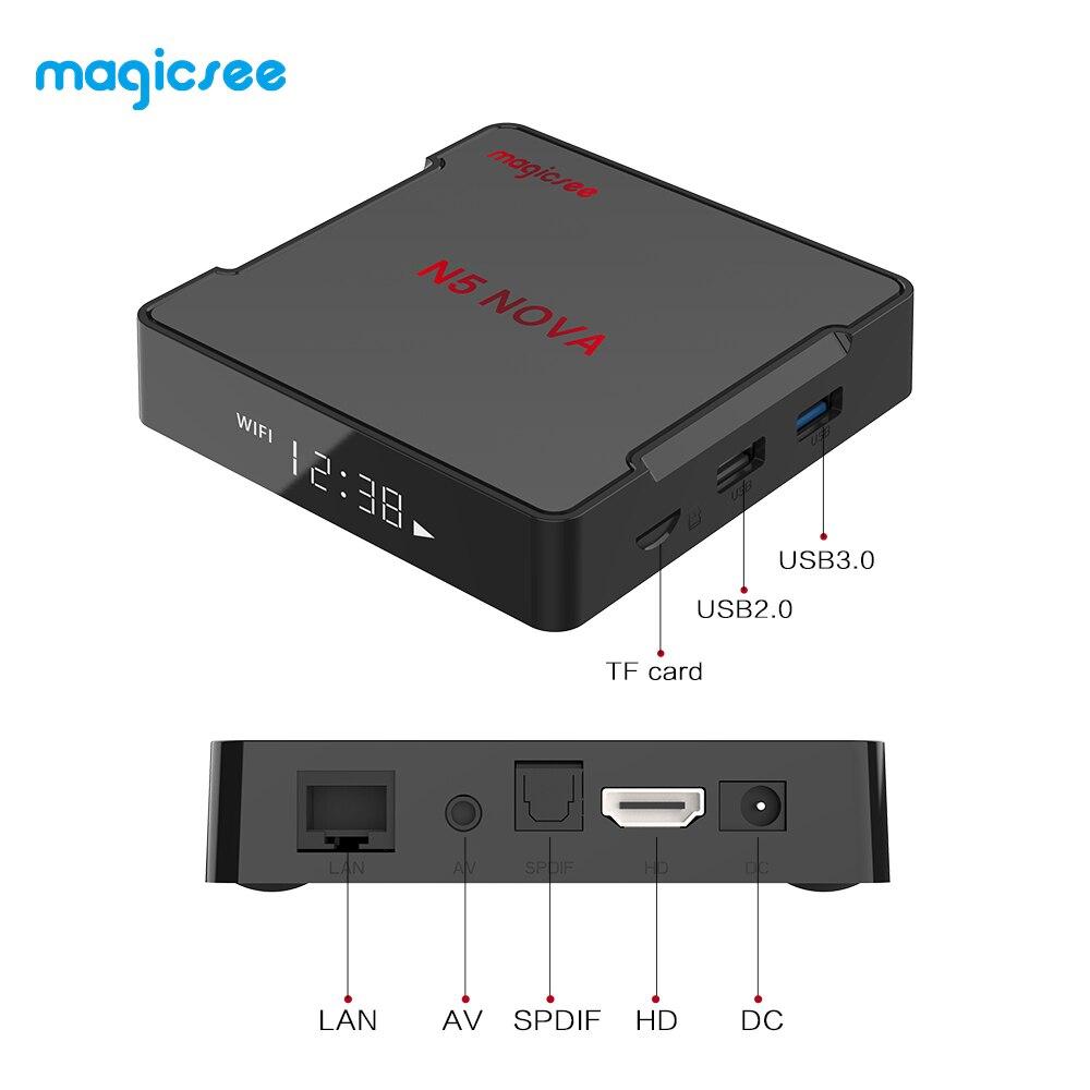 MAGICSEE N5 NOVA Android 9.0 BOÎTE de télévision RK3318 4 GO RAM 64 GO ROM 2.4GHz + WiFi 5GHz Commande Vocale Intelligente Décodeur 4K Bluetooth USB3.0 - 5