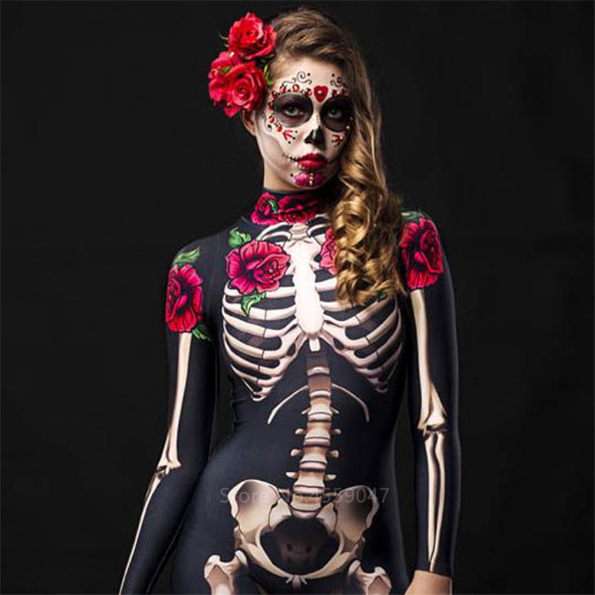 Women Cosplay Skeleton Rose Sexy Bodysuit Halloween Devil Ghost Specter Jumpsuit Romper Party Carnival Performance Scary Costume