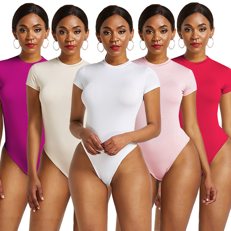 Women Bodysuit 2020 Summer O Neck Short Sleeve Sexy Skinny Short Romper Casual Elastic Bodycon Body Mujer Beach Ladies Jumpsuit