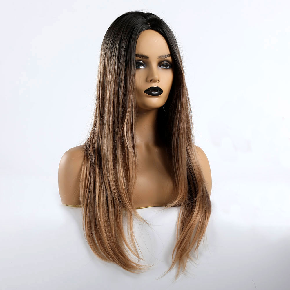 TINY LANA Long Straight Wigs Black Brown Golden Blonde Ombre Synthetic Wigs For Women Cosplay Hair Middle Part Heat Resistant