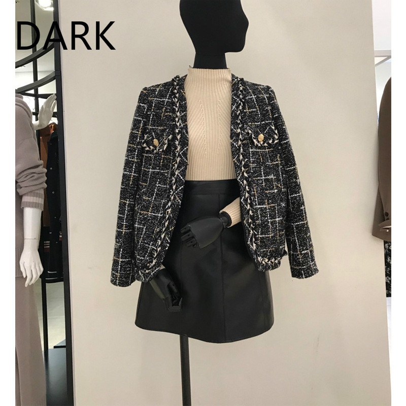 Celebrity Small Fragrance Coat Women's 2020 Spring And Autumn New Tweed Lattice Hong Kong Style Casual Small Suit Tide