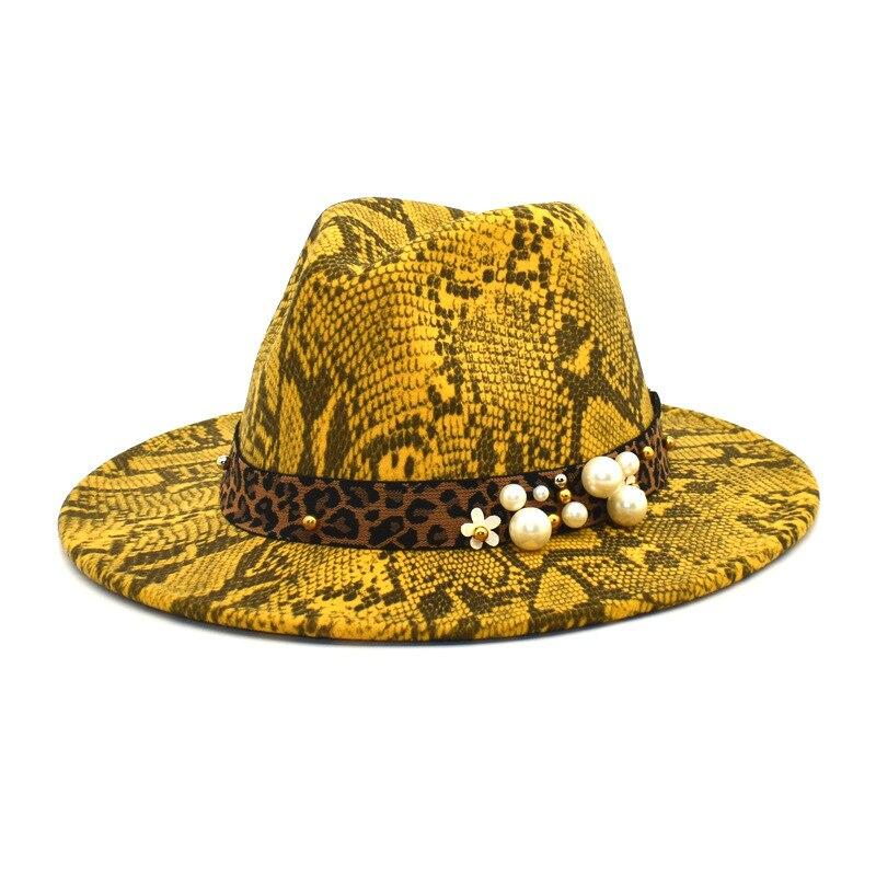 New lady's woolen felt hat Felt hat Snake-print vintage outdoor man's jazz hat fedora hat women men
