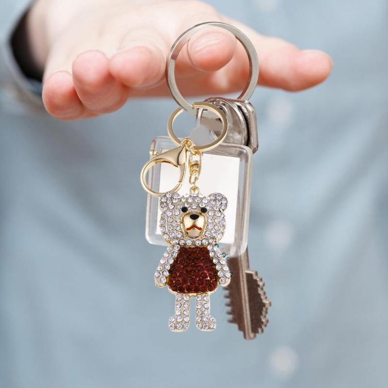 Cue Bear Keychain Rhinestone Pendant Backpack Key Ring Gifts For Men Women Animal Key Chain Kid Gifts Car Key Ring