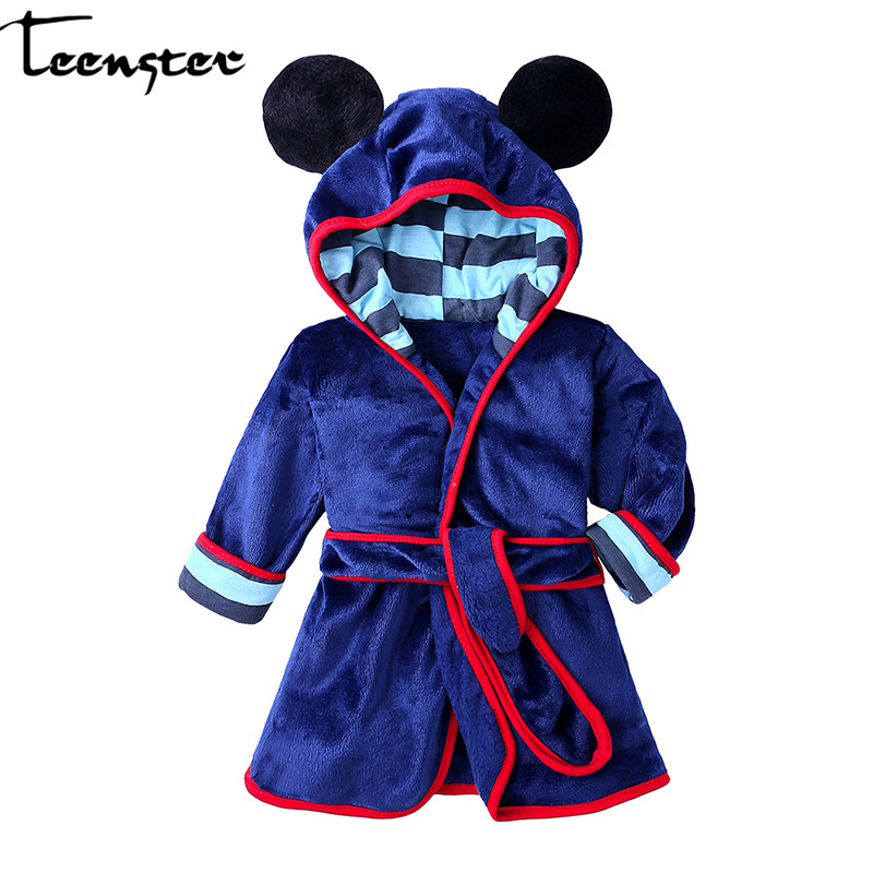 Teenster Kids Robes Minnie Mouse Tiger Embroidery Robe De Chambre Kid Baby Girl Clothes Toddler Mermaid Boy Children Bathrobe Robes Aliexpress