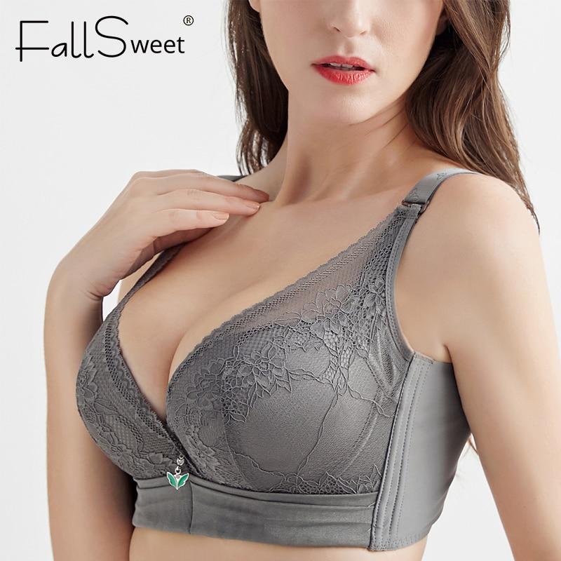 FallSweet sujetador Push-Up para mujeres acolchado de talla grande con aros sujetadores Sexy Lingeire ropa interior de encaje C copa D E