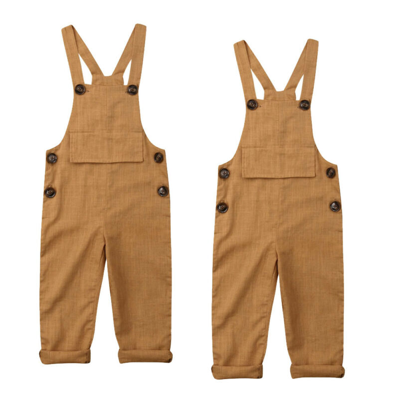 Toddler Kids Baby Boy Girl Linen Suspender Pants Jumpsuit Romper Clothes 0-3Y title=