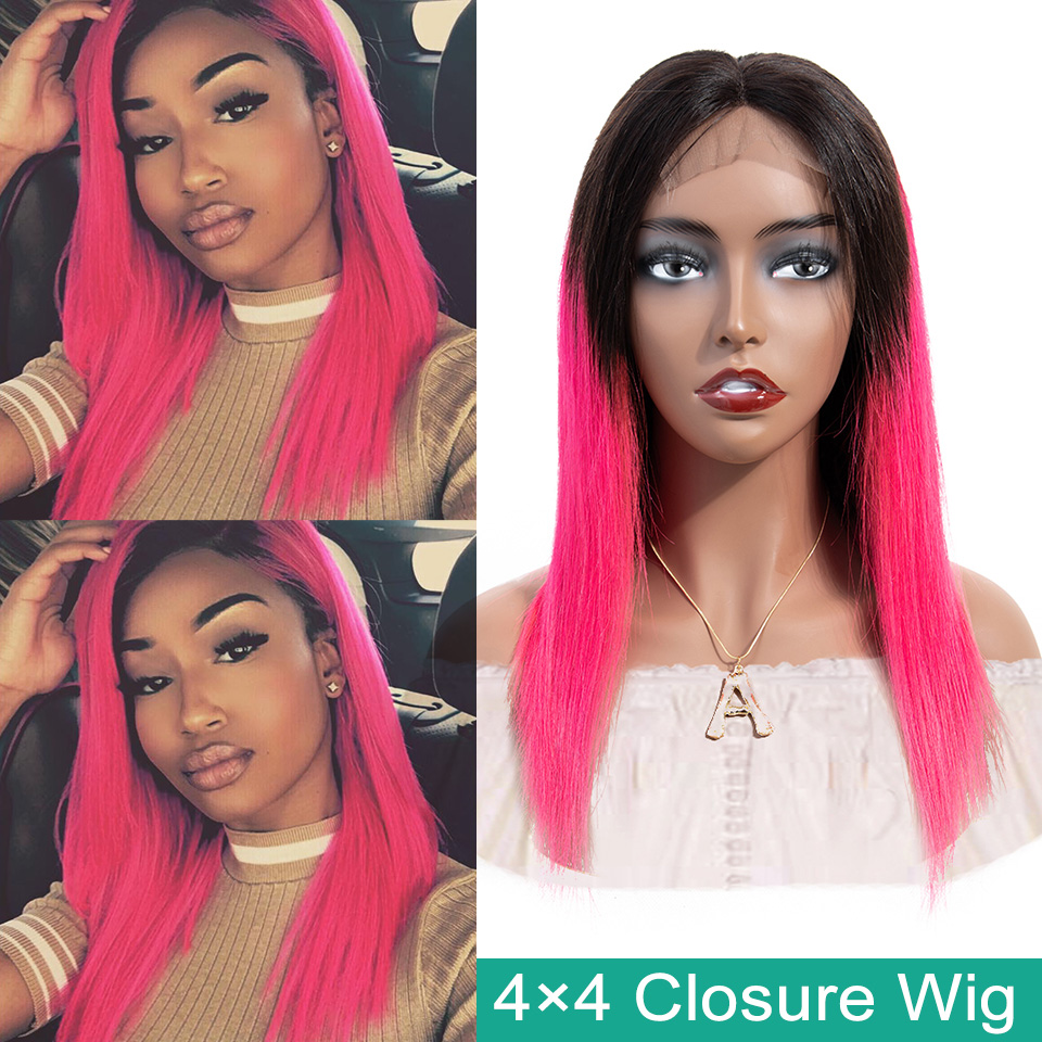 SEXAY Pink Color 4x4 Lace Closure Wigs With Baby Hair 150% 28inch Malaysian Straight Remy Hair Pre Colored Ombre Human Hair Wig